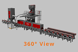 Continuous feed tube and bar blast machines